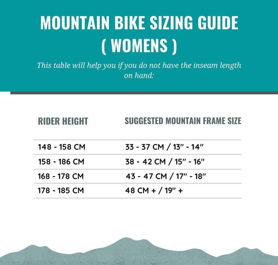 Guía de tallas de bicicletas de montaña para mujeres