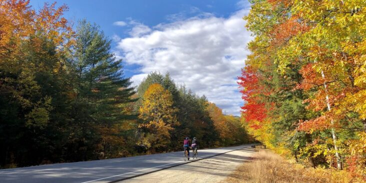 female cyclists on the kancamagus highway near royalty free image 1602260444