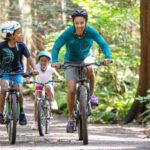 mom and kids race on bikes royalty free image 1622673789